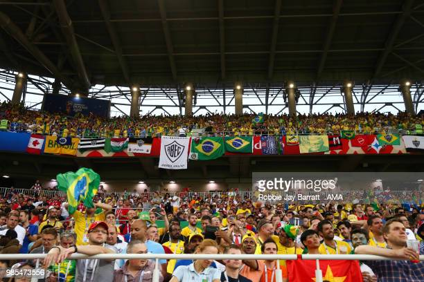 General View of Brazil fans and flags during the 2018 FIFA World Cup Russia group E match between Serbia and Brazil at Spartak Stadium on June 27...