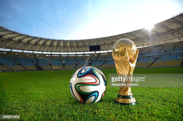General view of Brazuca and the FIFA World Cup Trophy at the Maracana before the adidas Brazuca launch at Parque Lage on December 3, 2013 in Rio de...
