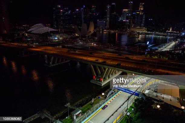A general view of Brendon Hartley of New Zealand driving the Scuderia Toro Rosso STR13 Honda on track during the Formula One Grand Prix of Singapore...