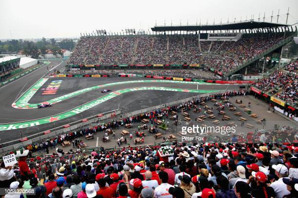 A general view of Brendon Hartley of New Zealand driving the Scuderia Toro Rosso STR13 Honda and Pierre Gasly of France and Scuderia Toro Rosso...