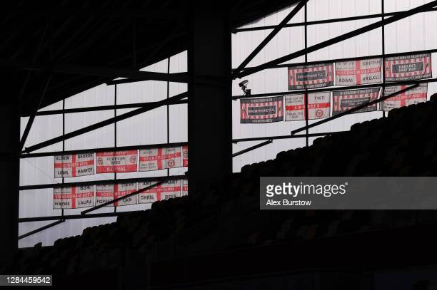 General view of Brentford FC flags displayed inside the stadium prior to the Sky Bet Championship match between Brentford and Middlesbrough at...