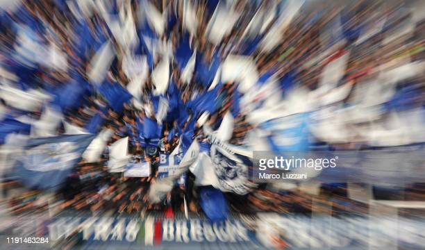 General view of Brescia Calcio fans cheering with flags before the Serie A match between Brescia Calcio and Atalanta BC at Stadio Mario Rigamonti on...