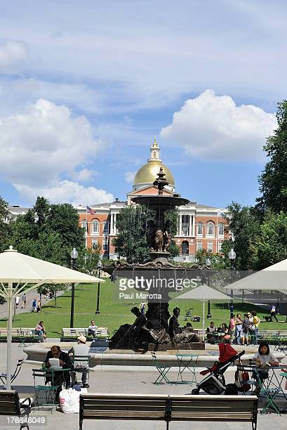 A general view of Brewer Fountain on Boston Common and the Massachusetts State House on August 16 2013 in Boston MA