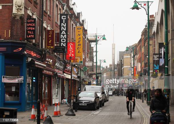 A general view of Brick Lane which is synonymous with curry restaurants on March 16 2011 in London England From April 2011 the Government has ruled...