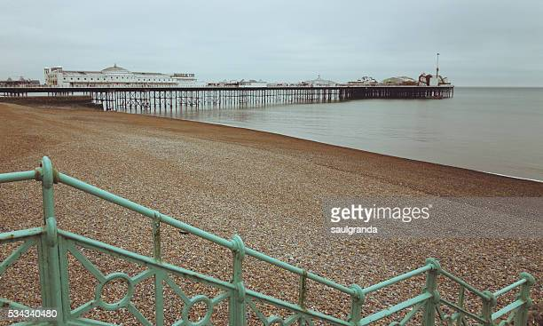 general view of brighton pier, brighton, east sussex, united kingdom - brighton beach england stock pictures, royalty-free photos & images