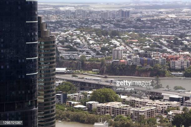 General view of Brisbane city on January 11, 2021 in Brisbane, Australia. Queensland Premier Annastacia Palaszczuk has announced Brisbane's current...