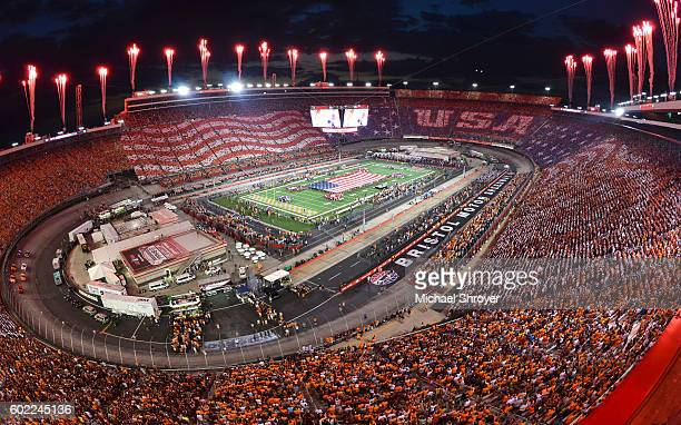 General view of Bristol Motor Speedway during the national anthem of the game between the Virginia Tech Hokies and the Tennessee Volunteers on...
