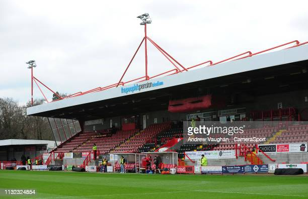 A general view of Broadfield Stadium home of Crawley Town prior to the Sky Bet League Two match between Crawley Town and Lincoln City at...