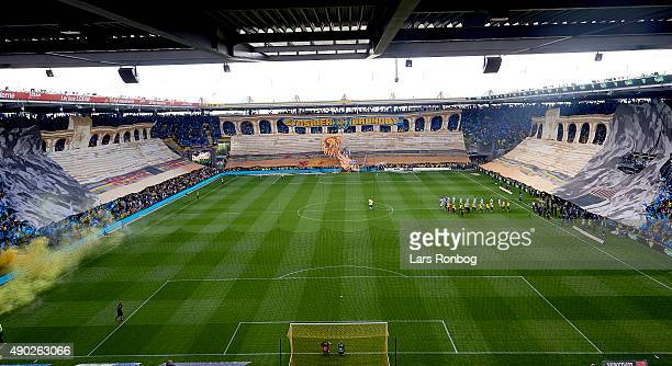 General view of Brondby IF fans cheering with a giant tifo prior to the Danish Alka Superliga match between Brondby IF and FC Copenhagen at Brondby...
