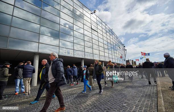 General view of Brondby IF fans walking in front of the stadium prior to the Danish Alka Superliga match between Brondby IF and FC Copenhagen at...