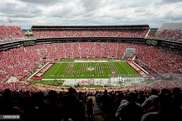 A general view of BryantDenny Stadium as Alabama's Million Dollar Band performs during a game between the Western Kentucky Hilltoppers and the...
