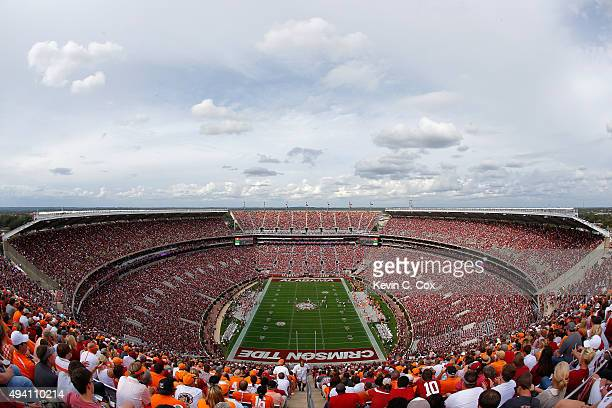 A general view of BryantDenny Stadium during the game between the Alabama Crimson Tide and the Tennessee Volunteers on October 24 2015 in Tuscaloosa...