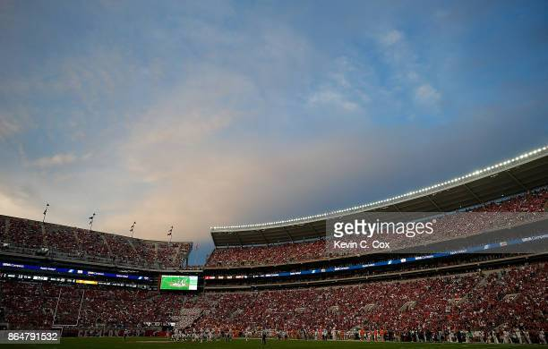A general view of BryantDenny Stadium in the final seconds of the Alabama Crimson Tide 457 win over the Tennessee Volunteers on October 21 2017 in...