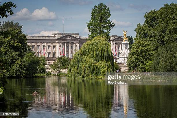 A general view of Buckingham Palace from across St James' Park Lake on June 24 2015 in London England The Queen may have to move out of Buckingham...