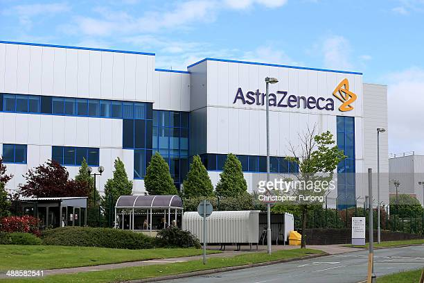 General view of buildings and signage at the Macclesfield Campus of pharmaceutical company AstraZenica on May 7, 2014 in Macclesfield, United...