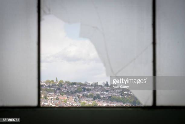 A general view of buildings in the city centre is seen through a broken window on April 25 2017 in Newport Wales The British Prime Minister Theresa...