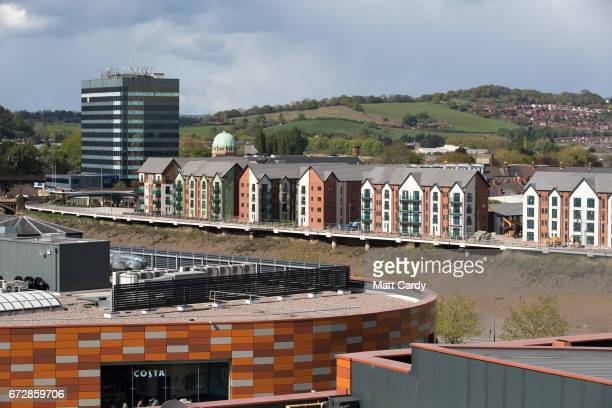 A general view of buildings in the city centre on April 25 2017 in Newport Wales The British Prime Minister Theresa May's visit to South Wales today...