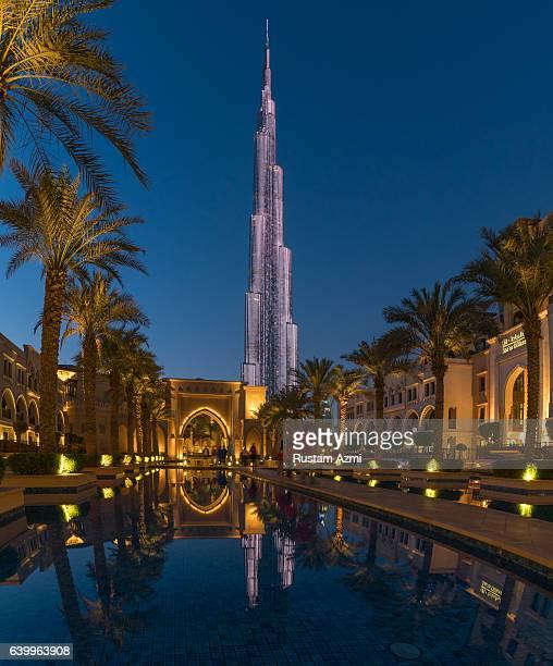 A general view of burj Khalifa captured from Souq al bahar at sunset on January 15 2016 in Dubai United Arab Emirates