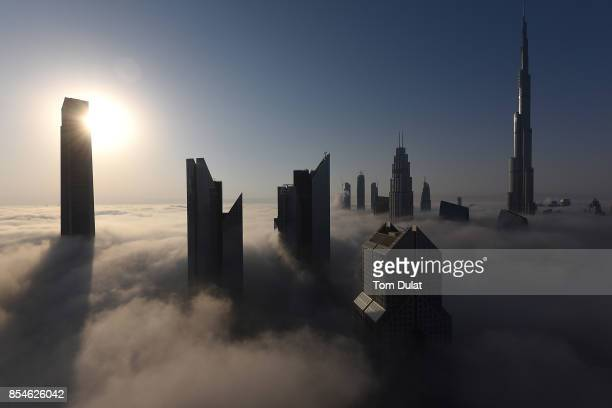 General view of Burj Khalifa during a heavy fog on September 27 2017 in Dubai United Arab Emirates