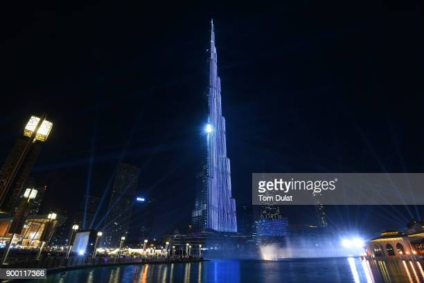 General view of Burj Khalifa New Year laser light show as Dubai breaks the Guinness World Record for the largest light and sound show on a single...
