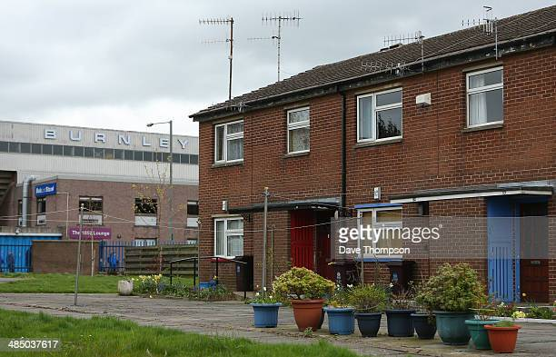 A general view of Burnley's Turf Moor stadium close to houses before the Sky Bet Championship match between Burnley and Middlesbrough at Turf Moor on...
