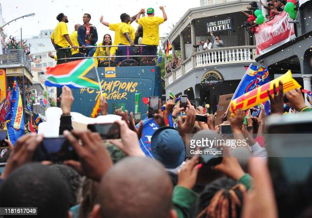 General view of Bus with fans during the Rugby World Cup 2019 Champions Tour on November 11, 2019 in Cape Town, South Africa.