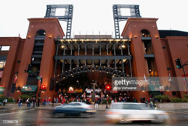General view of Busch Stadium as cars drive by before Game Four of the 2006 World Series between the Detroit Tigers and the St. Louis Cardinals on...