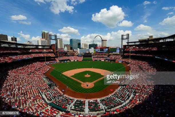 General view of Busch Stadium as the Pittsburgh Pirates play the St. Louis Cardinals during the eighth inning at Busch Stadium on April 19, 2017 in...