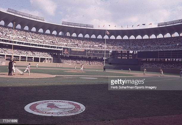 General view of Busch Stadium during Game 1 of the 1968 World Series between the Detroit Tigers and the St Louis Cardinals on October 2 1968 in St...