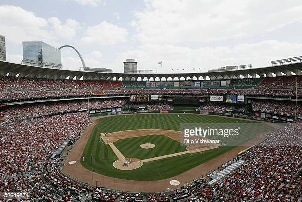 General view of Busch Stadium during the game between the St Louis Cardinals and the Philadelphia Phillies on April 10 2005 in St Louis Missouri The...