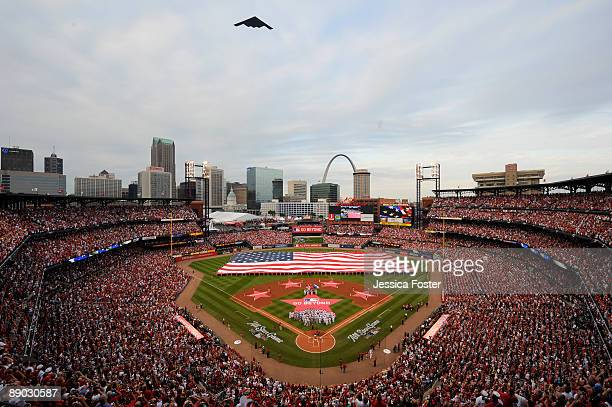 General view of Busch Stadium during the pregame ceremonies of the 2009 All-Star Game at Busch Stadium July 14, 2009 in St. Louis, Missouri. The...