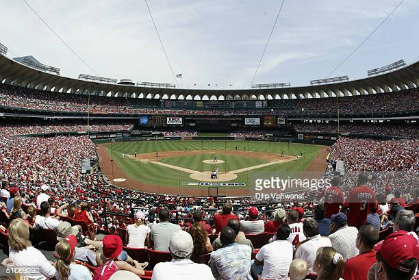 General view of Busch Stadium from behind home plate field level during the game between the St. Louis Cardinals and the Cincinnati Reds at Busch...