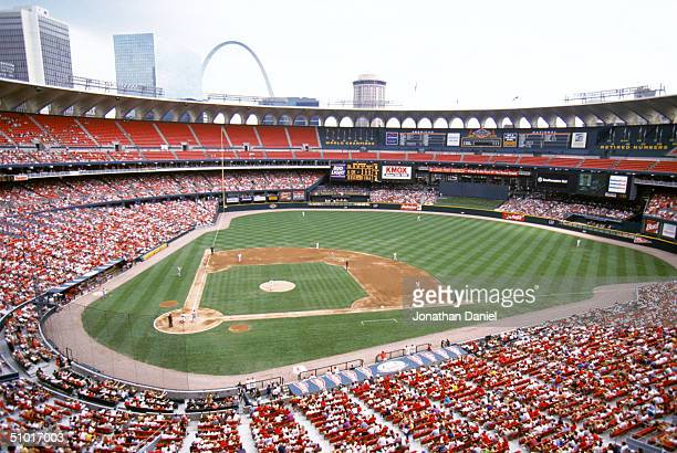 General view of Busch Stadium, home of the St. Louis Cardinals during a game against the Philadelphia Phillies on June 10, 1997 in St. Louis,...