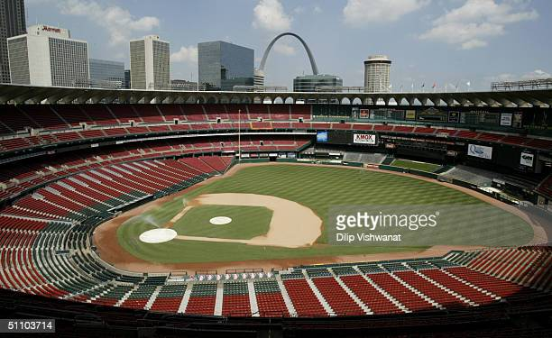 General view of Busch Stadium, home of the St. Louis Cardinals, on July 18, 2004 in St. Louis, Missouri.