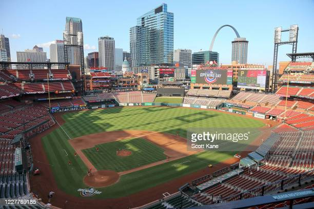 General view of Busch Stadium prior to the Opening Day game between the St. Louis Cardinals and the Pittsburgh Pirates on July 24, 2020 in St. Louis,...