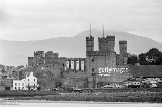 General view of Caernarfon Castle pictured on the day of the Investiture of Prince Charles at Caernarfon Castle Caernarfon Wales 1st July 1969