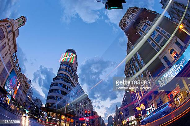 General view of Callao square on August 26 2013 in Madrid Spain This square is the center of the famous Gran Via street Along with Istanbul and Tokyo...