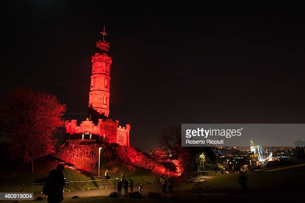 General view of Calton Hill during Hogmanay's celebrations on December 30 2014 in Edinburgh Scotland