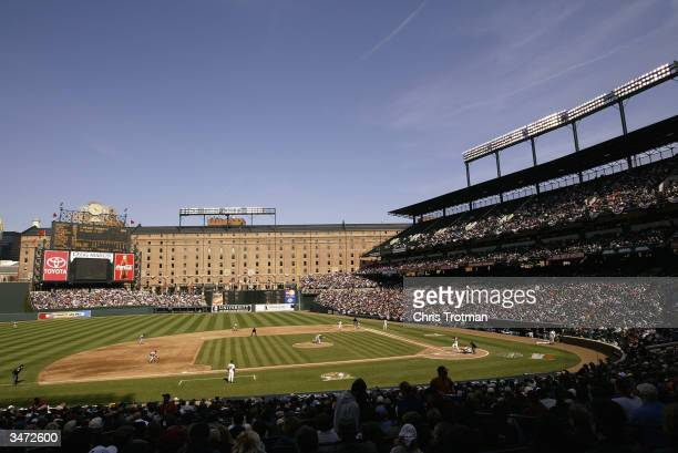 A general view of Camden Yards during the game between the Baltimore Orioles and the Boston Red Sox on April 6 2004 in Baltimore Maryland The Sox...