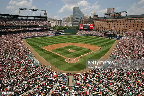 General view of Camden Yards during the MLB game between the Boston Red Sox and the Baltimore Orioles on July 9, 2005 at Camden Yards in Baltimore,...