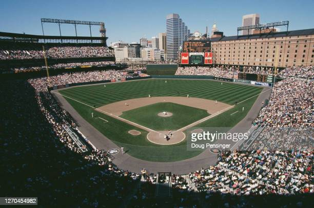 General view of Camden Yards Stadium and the baseball diamond with the Minnesota Twins batting against the Baltimore Orioles during their Major...