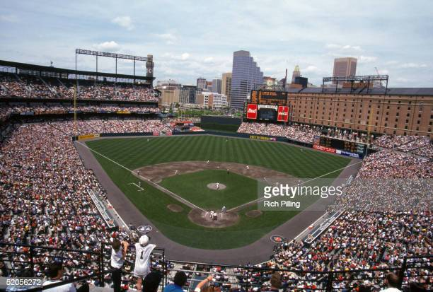 A general view of Camden Yards taken during a Baltimore Orioles game on May13 1995 in Baltimore Maryland