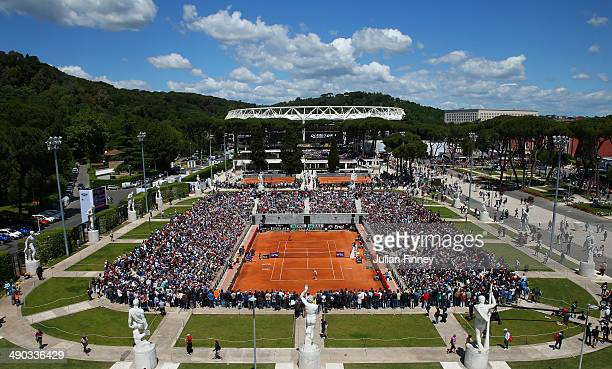 A general view of Camila Giorgi of Italy in action against Christina McHale of USA during day four of the Internazionali BNL d'Italia tennis 2014 on...