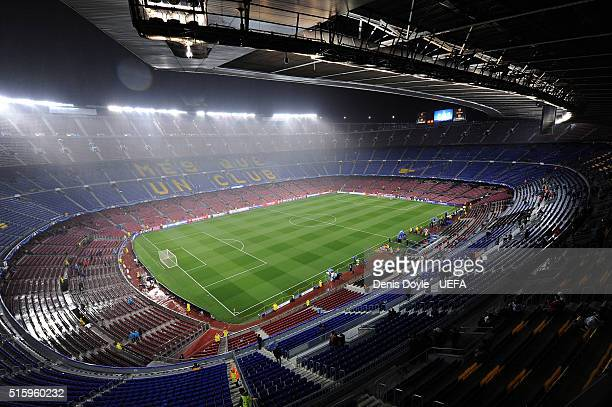 General view of Camp Nou stadium ahead of the UEFA Champions League Round of 16 second leg match between FC Barcelona and Arsenal FC at Camp Nou...