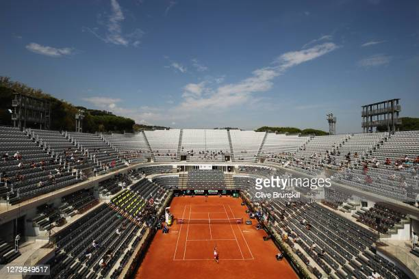 General view of Campo Centrale as spectators observe social distancing as they watch the semi-final match between Simona Halep of Romania and Garbine...