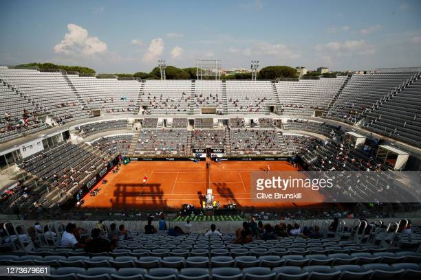 General view of Campo Centrale as spectators observe social distancing as they watch the semi-final match between Novak Djokovic of Serbia and Casper...