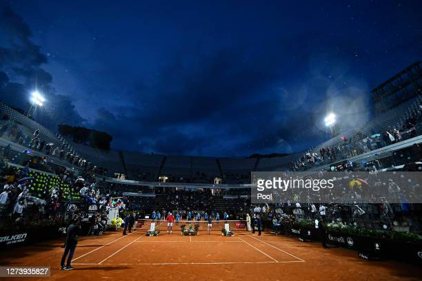 General view of Campo Centrale during the presentation ceremony after the men's final match between Novak Djokovic of Serbia and Diego Schwartzman of...