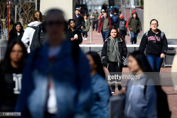 General view of campus life at Temple University in Philadelphia PA on a frisk early spring day of March 27 2019 To harness a further outbreak of the...