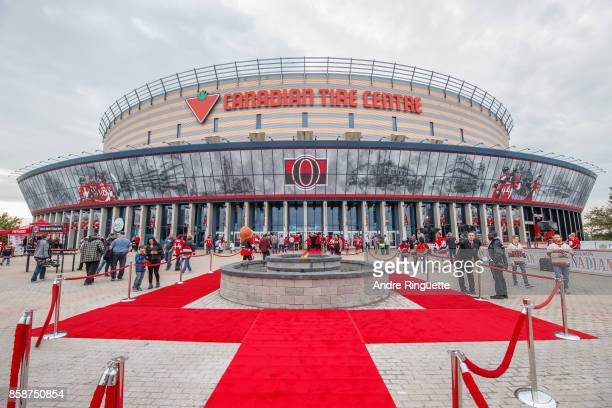 A general view of Canadian Tire Centre with a red carpet in place for player introductions prior to the NHL game between the Ottawa Senators and the...