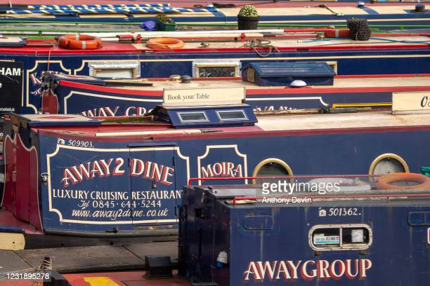 General view of canal barges in Regency Wharf in Birmingham city centre on March 20, 2020 in Birmingham, England.